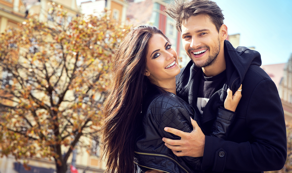 attractive happy couple - Libra man with Aquarius rising