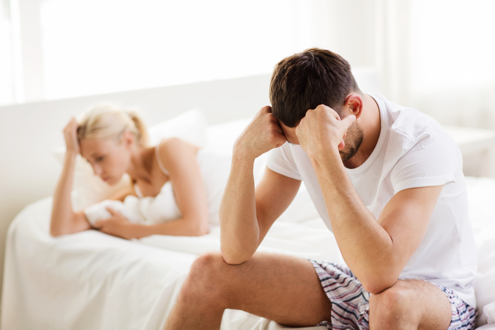unhappy couple having problems at bedroom - Libra Man Sexually Inactive