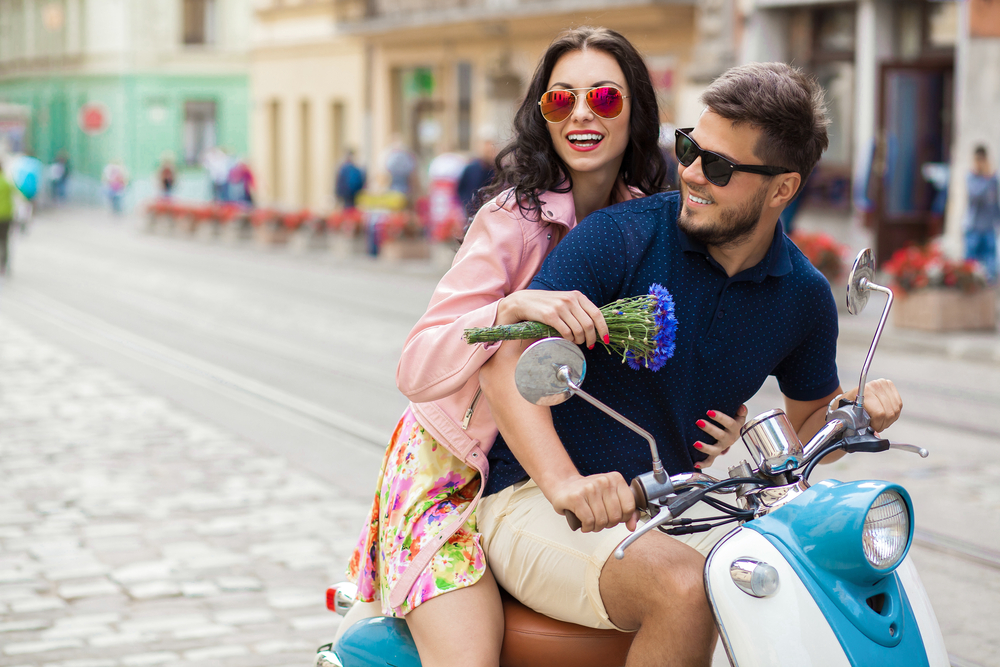 young beautiful hipster couple riding on motorbike city street - Best Matches for Libra Man